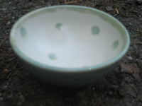 SOLD wax cut small bowl, matt white and robin egg blue  *