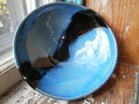 "8"" black stripe on blue bowl