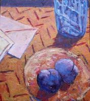 Letter Series, Blue Glass, Two Plums, acrylic on wood