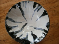 "9"" bowl, black and white
