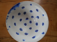 medium bowl, matt white with wax cut blue dots